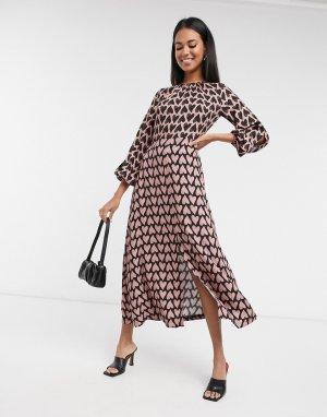 Платье мидакси с длинными рукавами и контрастным принтом -Мульти Closet London