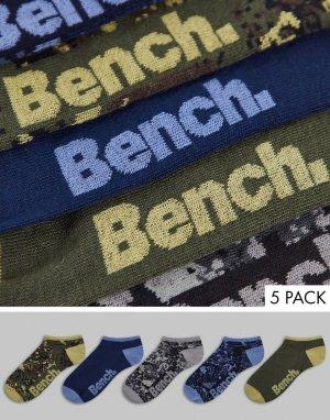 Набор из 5 пар спортивных носков зеленого и серого цвета Ashwin-Зеленый цвет Bench