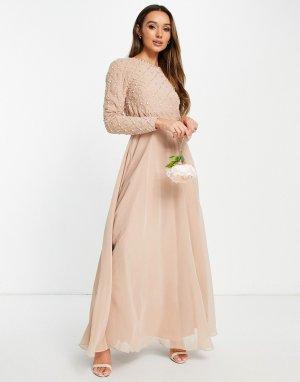 Пудровое платье макси с длинными рукавами, декоративной отделкой и юбкой из тюля Bridesmaid-Розовый цвет ASOS DESIGN