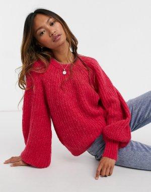 Розовый джемпер из ткани с добавлением шерсти Saria-Розовый цвет In Wear