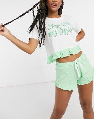 Пижамный комплект с шортами и надписью Step into my Office на майке -Зеленый Brave Soul