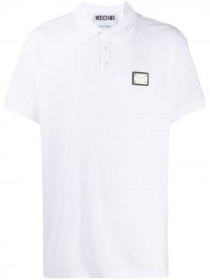 Рубашка поло с нашивкой-логотипом Moschino. Цвет: белый
