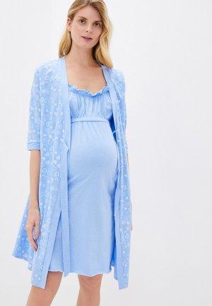 Халат и сорочка ночная Hunny mammy. Цвет: голубой