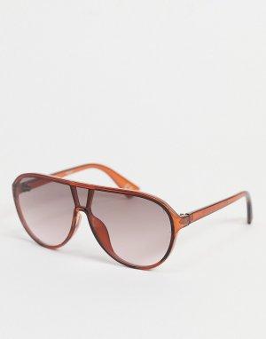 Коричневые солнцезащитные очки с плоским верхом -Коричневый цвет ASOS DESIGN