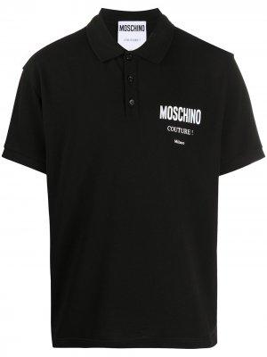 Рубашка поло с логотипом Moschino. Цвет: черный