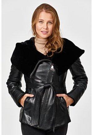 Утепленная кожаная куртка с подкладкой из овчины Снежная Королева