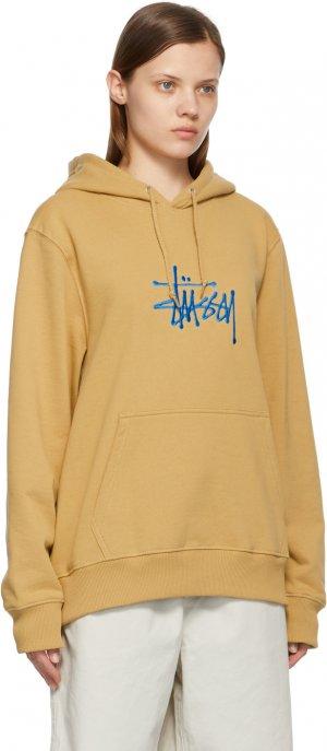 Khaki Embroidered Hoodie Stüssy. Цвет: khaki