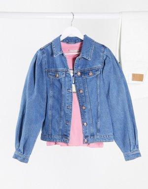 Синяя джинсовая куртка с пышными рукавами -Синий Pieces