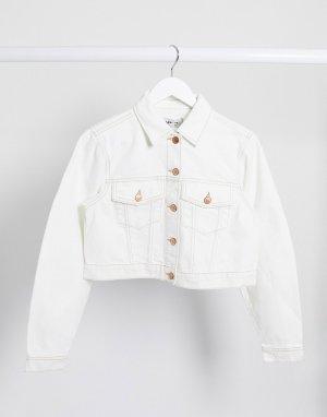 Светлая короткая джинсовая куртка -Белый New Look