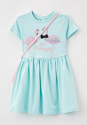 Платье и сумка Acoola. Цвет: бирюзовый