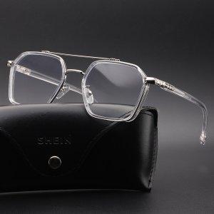 Мужские очки с прозрачной оправой против синего света SHEIN. Цвет: прозрачный