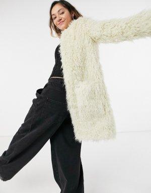 Шуба миди из искусственного меха кремового цвета Lisa-Кремовый Pepe Jeans