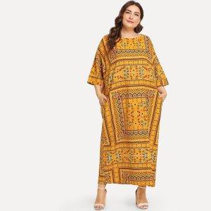 Большое ситцевое платье с рукав-летучими мышами SHEIN. Цвет: жёлтые