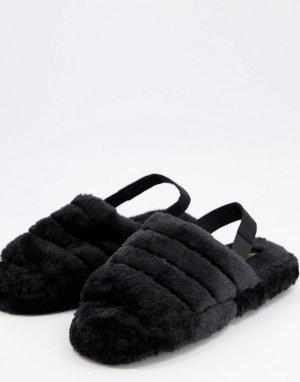 Черные пушистые слиперы с мягким ремешком на пятке -Черный цвет Truffle Collection