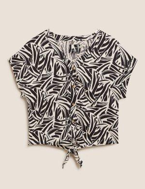 Топ с галстуком из чистого льна животным принтом M&S Collection. Цвет: черный микс