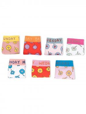 Комплект из семи пар трусоф-брифов с цветочным принтом Stella McCartney Kids. Цвет: разноцветный