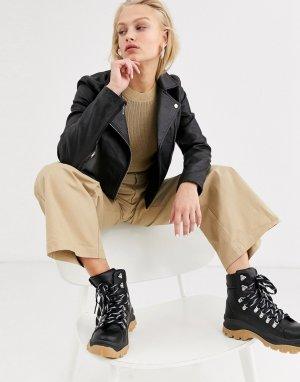 Черная кожаная куртка Femme-Черный цвет Selected