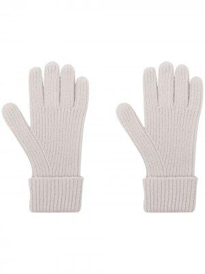 Кашемировые перчатки в рубчик N.Peal. Цвет: серый