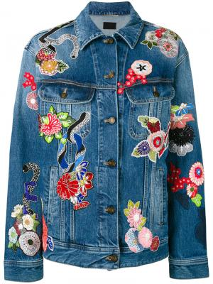 Джинсовая куртка с заплатками Saint Laurent. Цвет: синий