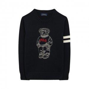 Хлопковый пуловер Polo Ralph Lauren. Цвет: синий
