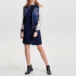 Куртка-бомбер с вышивкой из сатина ONLY. Цвет: синий морской