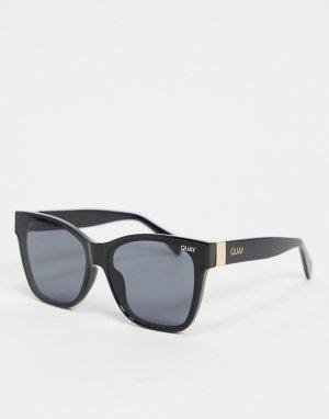 Черные женские квадратные солнцезащитные очки Quay After Party-Черный Australia
