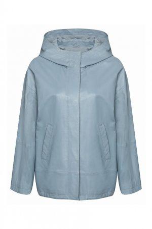 Голубая кожаная куртка Marina Rinaldi. Цвет: синий