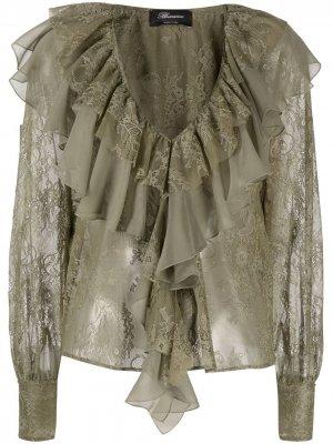 Блузка с кружевными оборками Blumarine. Цвет: зеленый