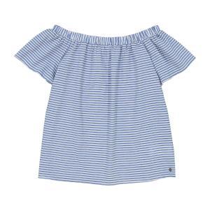 Блузка в полоску, открытые плечи, короткие рукава NUMPH. Цвет: в полоску синий/белый