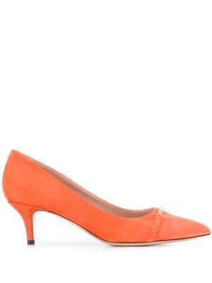 Декорированные туфли-лодочки на каблуке-рюмке Escada. Цвет: оранжевый