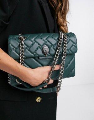 Большая сине-зеленая кожаная сумка Kensington-Зеленый Kurt Geiger London