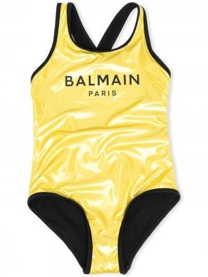 Купальник с логотипом Balmain Kids. Цвет: желтый