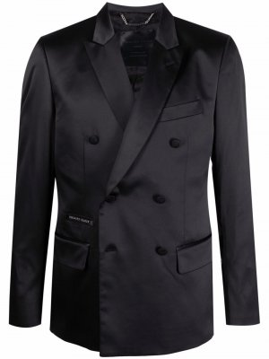Двубортный пиджак строгого кроя Philipp Plein. Цвет: черный