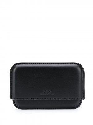 Картхолдер с тисненым логотипом A.P.C.. Цвет: черный