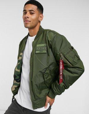 2-цветная нейлоновая куртка -Зеленый Alpha Industries
