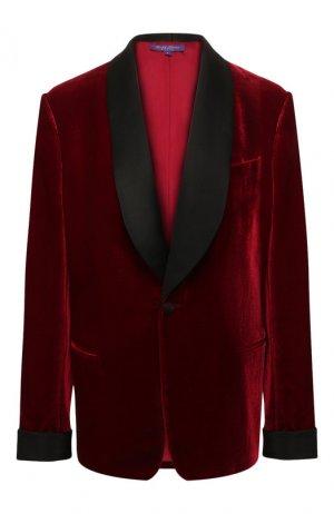 Жакет из смеси вискозы и шелка Ralph Lauren. Цвет: красный