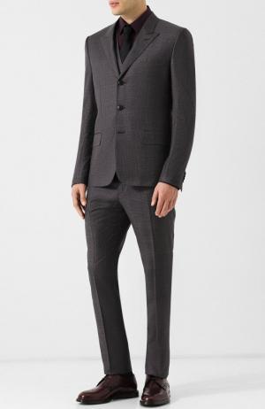 Шерстяной костюм-тройка в клетку Valentino. Цвет: светло-коричневый