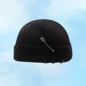 Мужская вязаная шляпа-докер SHEIN. Цвет: чёрный