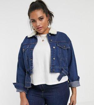 Джинсовая куртка со съемным воротником борг -Синий Urban Bliss Plus
