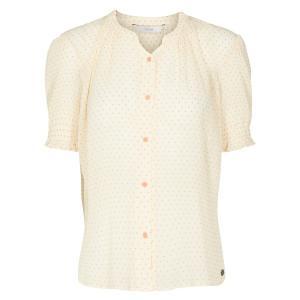 Рубашка прямого покроя с круглым вырезом, рисунком и короткими рукавами NUMPH. Цвет: в горошек/оранжевый