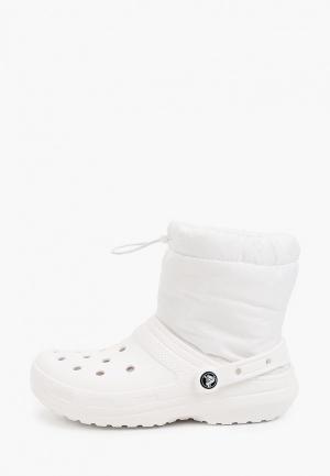 Полусапоги Crocs Classic Lined Neo Puff Boot. Цвет: белый