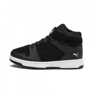 Детские ботинки Pm Rebound Layup Fur SD V PS PUMA. Цвет: черный