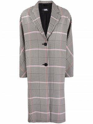 Однобортное пальто в клетку Karl Lagerfeld. Цвет: белый