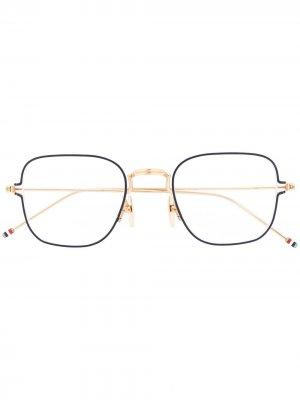 Очки в квадратной оправе Thom Browne Eyewear. Цвет: золотистый