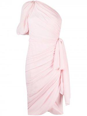 Платье на одно плечо с завязками Giambattista Valli. Цвет: розовый