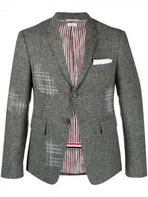 Однобортный пиджак с контрастной строчкой Thom Browne. Цвет: серый