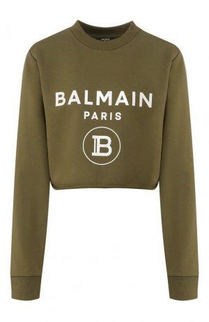 Хлопковый пуловер Balmain. Цвет: хаки