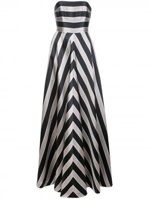 Вечернее платье в полоску без бретелей Halston Heritage. Цвет: белый