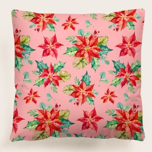 Рождественский чехол для подушки без наполнителя с цветочным принтом SHEIN. Цвет: многоцветный