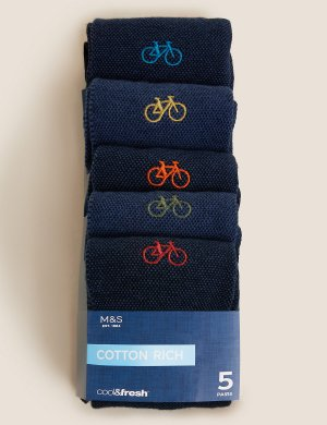 Комплект носков с вышивкой Велосипеды и отделкой Cool & Fresh ™ (5 пар) M&S Collection. Цвет: темно-синий